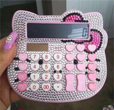 Hello Kitty Bling Bling Digit Pink Calculator Luxury Rhinestone Crystal Diamond