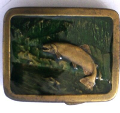 VINTAGE 1977 **TROUT FISH JUMPING UPSTREAM** INDIANA METAL CRAFT BELT BUCKLE - Jumping Fish Buckle