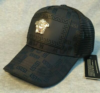 New Versace Logo Cap Mesh Golf Hat Black Unisex