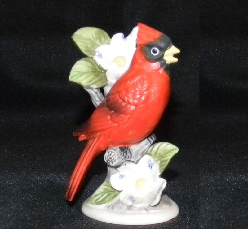 Ardco Red Cardinal Porcelain Figurine Red Bird on Branch & Flowers Vintage Japan