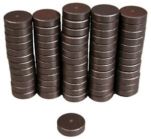 100-Magnets-11-16-034-Round-x-3-16-034-thick-Ceramic-Discs-Grade-5-Strong