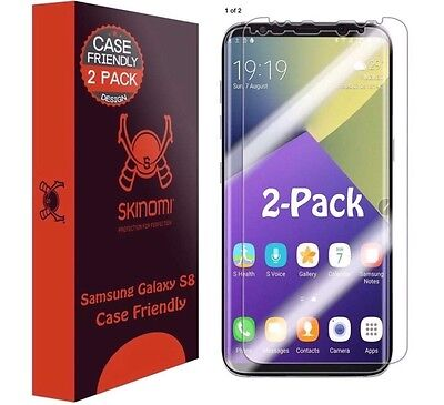 Skinomi Clear  2 Pack  Screen Protectors  Case Friendly  For Samsung Galaxy S8