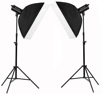 1200W Photography Studio Flash Kit 2 x 600w LED Strobe Lighting set fan MT600 UK