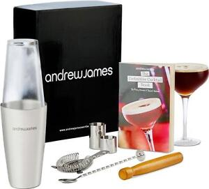 Andrew James 8 Piece Cocktail Bar Gift Set Including Boston Shaker + Accessories