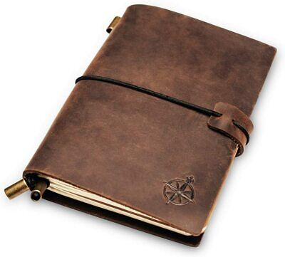 Wanderings Leather Pocket Notebook Small Refillable Travel Journal Passport Size