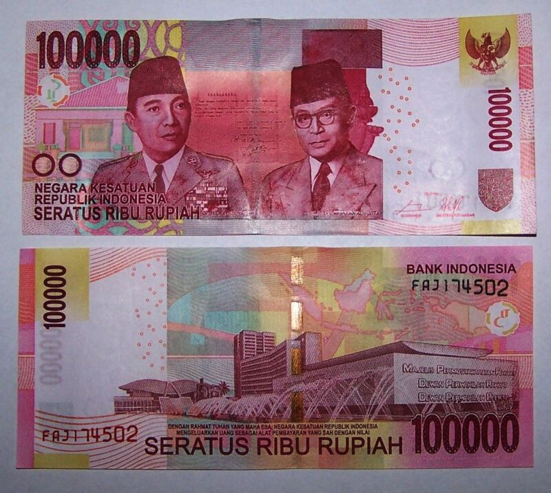 1 x Indonesia 100000 (100,000) Rupiah banknote-UNC paper money currency