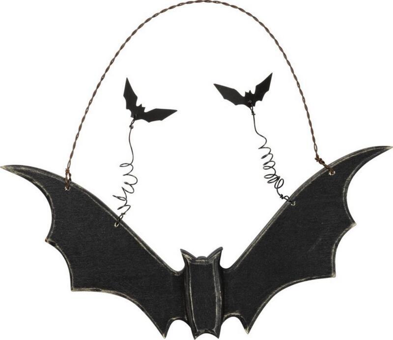 Primitive Black Wood Hanging Bat