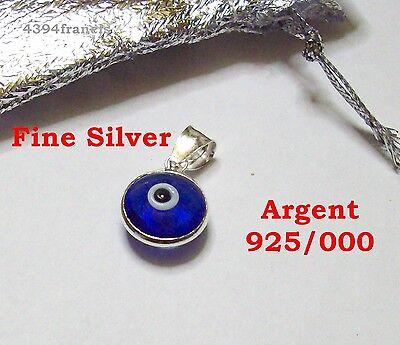 Magnifique Pendentif Talisman OEIL Protecteur ARGENT 925 Blue Eye Fine SILVER