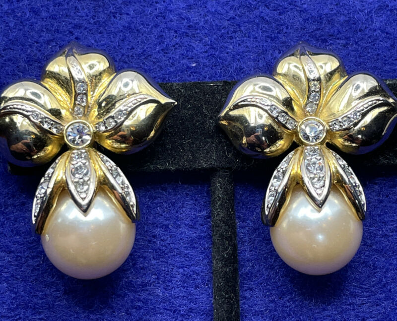 Vintage Earrings Faux Pearl Gold Tone Clip On 80s Statement Runway Wedding Bride