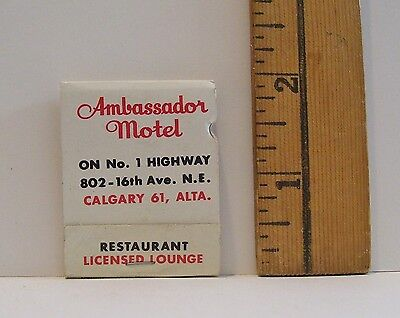Vintage Best Western Ambassador Motel Calgary 61  Alta Advertising Matchbook