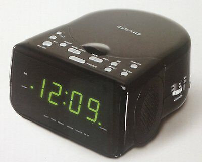 Craig AM/FM Stereo Dual Alarm Clock Radio w CD Player and LED Green Display New