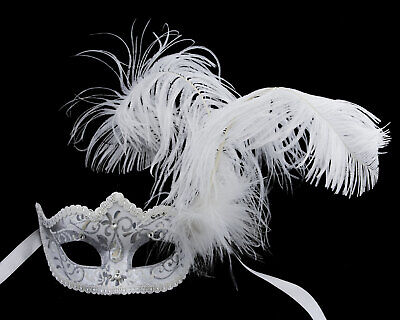 Mask from Venice Silver Luxury Colombine in Tip in Feathers Iceland 22502