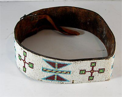"ca1910 NATIVE AMERICAN SIOUX INDIAN BEAD DECORATED BELT - LARGE SIZE 40"" LONG"