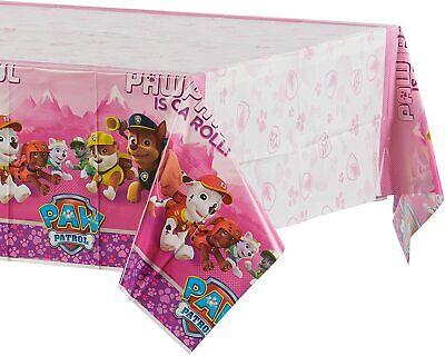 Huellas Patrol (Niña) 1X Hule de Mesa Cumpleaños Party Supplies Decoración Rosa
