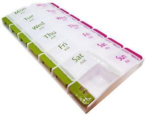 Pill Box ~ Easy Open 14 Slot ~ AM PM 7 Day Medication Case Organiser Dispenser
