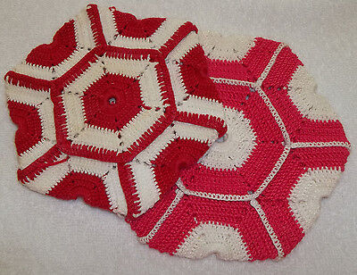 Pair of Vintage Hand Crocheted Pot Holders Hot Pads Hot Pink & White Red & White