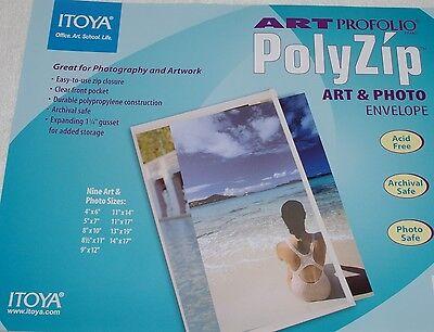 4 Pc Itoya 8 X 10 Poly Zip Envelope Clear Top Loading Front Pocket Az810