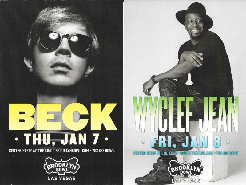 Original BECK Wyclef Jean  Concert Handbill Mini Poster Las Vegas 2016