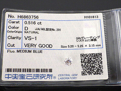 0.516 Carat VS1 D Color VERY GOOD Round Cut Loose Natural Diamond +Grading