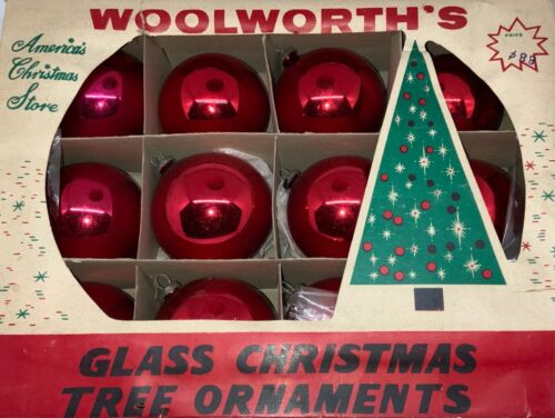VINTAGE WOOLWORTH'S GLASS CHRISTMAS ORNAMENTS - DOZEN RED ROUND!