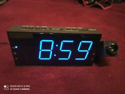 New Large Display Projection Alarm Clock with USB Blue Digits!