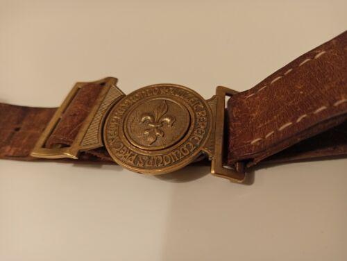Vintage Boy Scouts 2 Piece Belt Brass Buckle  On Leather Belt