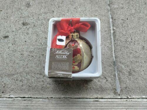 """WILLIAMSBURG ALDIK Palace Ball Ornament """"100mm"""" w/ Red Ribbon Bow, New-in-Box!"""