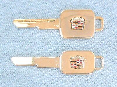 Rare Cadillac Original NOS A&B Yellow Gold Cadillac Crest Key Set B48A & B49B