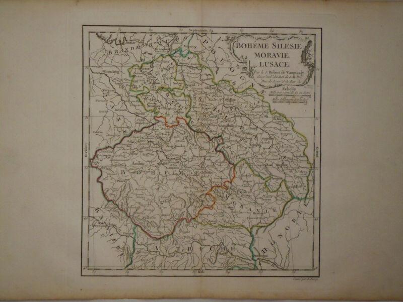 c1780 Genuine Antique colored map Bohemia, Silesia, Lusace, Moravie. De Vaugondy