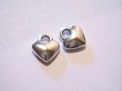 Heart Charms Antiqued Silver Tiny Heart Charms Wholesale BULK Charms 50 pieces