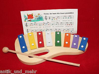 Xylophon Kinderxylophon Holzspielzeug Instrument mit 4 Kinderliedern/Noten NEU