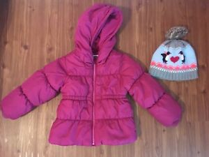 Size 5 Girls Puffer with Matching Toque