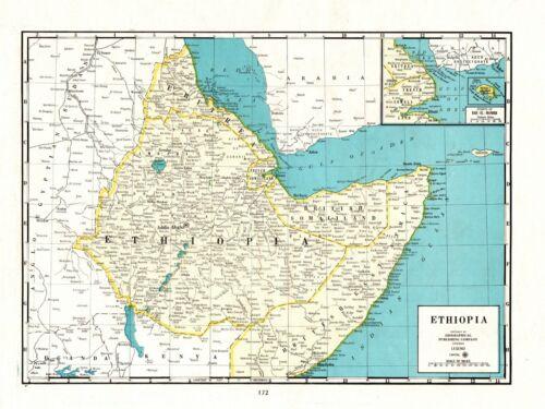 1947 Vintage Ethiopia Africa Map of Ethiopia Atlas Map 8645
