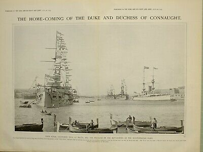 1903 PRINT MALTA BATTLE-SHIPS HOME-COMING OF DUKE & DUCHESS OF CONNAUGHT