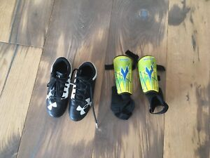Children's Size 12 Soccer Cleats and Shin Pads