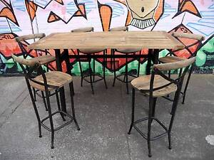 New Recycled Timber French Industrial 7pc Dining Table & Stools Melbourne CBD Melbourne City Preview