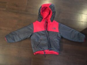 Red toddler North Face reversible winter jacket. Size 2T.
