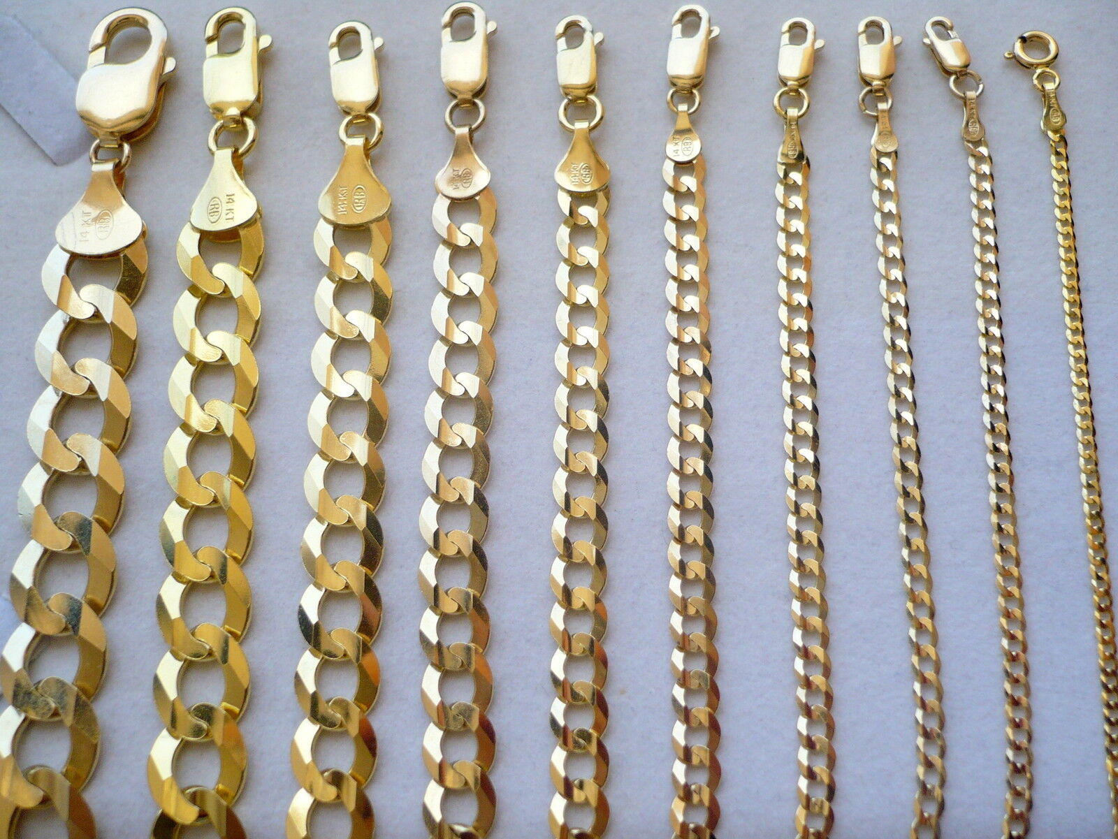 1.5mm- 11mm 14k Solid Yellow Gold Cuban Link Women/ Men'S Necklace Chain 16