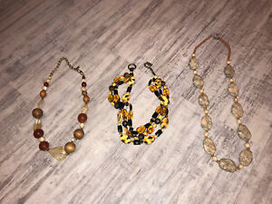 Assorted glass bead, stone and gem necklaces
