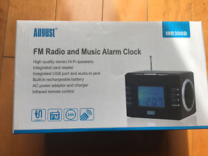 August MB300B Mini MP3 Stereo System and FM Clock Radio