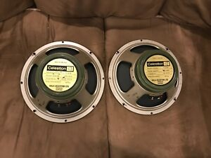 Pair of 1973/1974 Celestion pulsonic cone G12M greenbacks
