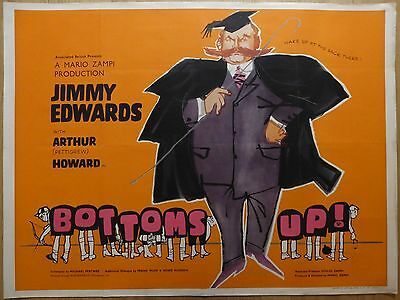 BOTTOMS UP! (1960) - original UK quad film/movie poster, Jimmy Edwards, rare !!