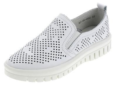 Damen Schuhe Slipper Comfort Frauen Leder Halbschuhe Freizeitschuhe AV45062 Weiß Frauen Weiße Leder