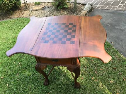 Extendable timber Chess/Games table with 2 drawers