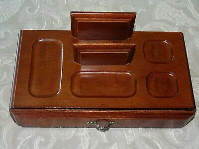 Vintage Jewlery Office Supplies Wood Desk Organizer Tray Pen Accessories Storage