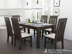 MODERN DINING TABLE SUITE WITH STORAGE IN BROWN,SOLID TIMBER 7PCE Dandenong South Greater Dandenong Preview