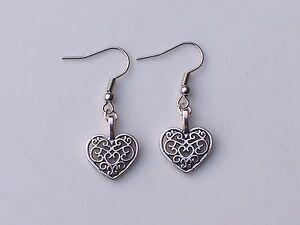 Lovely Tibetan Silver Filigree Heart,Silver Plated Hook Dangle Earrings.Handmade