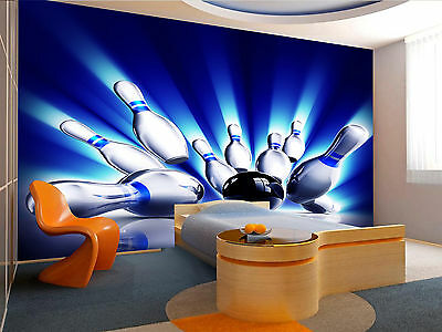 Bowling Pins Wall Mural Photo Wallpaper GIANT WALL DECOR PAPER POSTER Free Glue](Giant Bowling Pins)