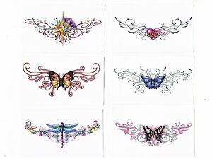 beautiful lower back temporary tattoos assorted designs butterfly dragonfly ebay. Black Bedroom Furniture Sets. Home Design Ideas