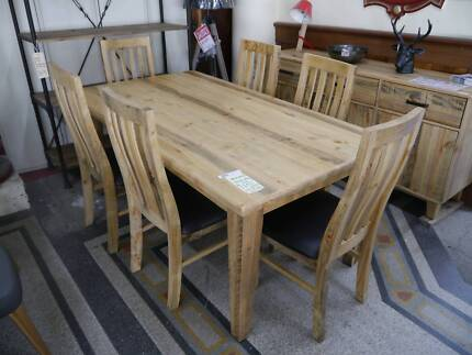 New Rustic Timber Woodstock 7 Piece Dining Setting Table Chairs